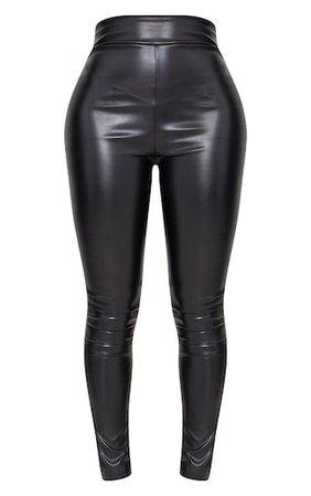 Shape Black Matte Pu Leggings | PrettyLittleThing USA