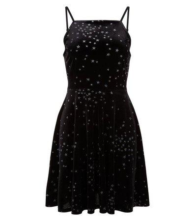 Black Velvet Star Print Skater Dress | New Look