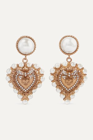 Dolce & Gabbana | Gold-tone, faux pearl and crystal clip earrings | NET-A-PORTER.COM