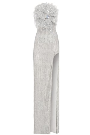 STRASS EMBELLISHED STRAPLESS MAXI DRESS WITH A HIGH SLIT | Raisa Vanessa