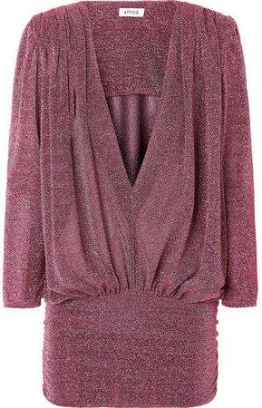 Draped Lurex Mini Dress - Pink