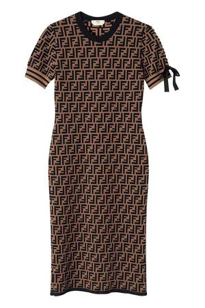 Fendi FF logo print fitted dress - Brown