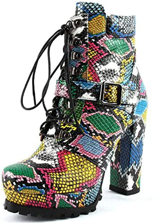 Amazon.com | Vimisaoi Women's High Chunky Heels Lace Up Zipper Platform Ankle Booties Autumn Winter Combat Martin Boots | Ankle & Bootie