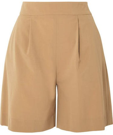 La Collection - Stephanie Pleated Wool-blend Shorts - Camel