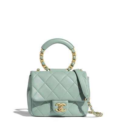 Small Flap Bag, lambskin & gold metal , blue - CHANEL