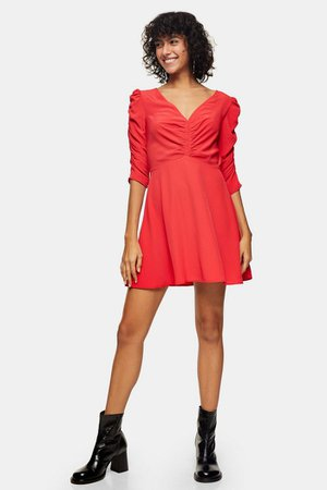 Red Ruched Front Mini Dress | Topshop