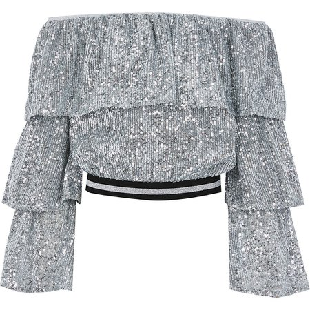 Girls silver sequin bardot cropped top | River Island