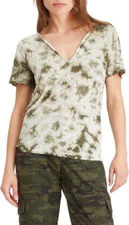 Good Vibes Tie Dye V-Neck Linen T-Shirt