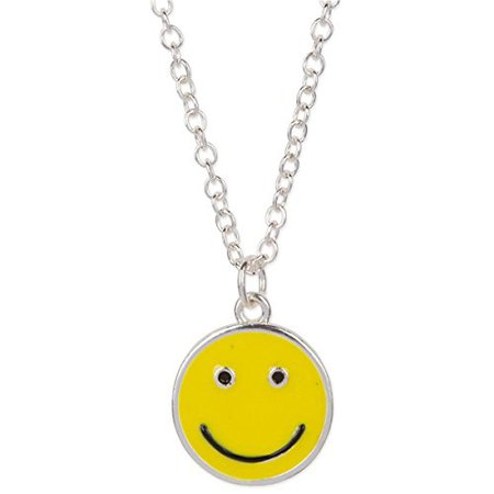 Amazon.com: Happy Smiley Face Emoji Pendant Necklace Silver Tone Yellow Black: Jewelry