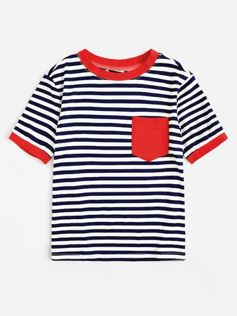 Pocket Patched Striped Ringer Tee | SHEIN