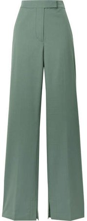 Wool-blend Crepe Flared Pants - Gray green
