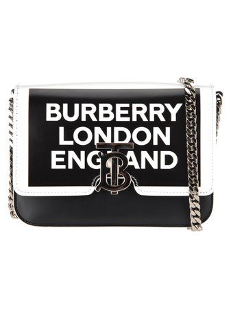 Burberry London Burberry Small Tb Leather Bag With Logo Print