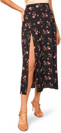 Zoe Side Slit Midi Skirt