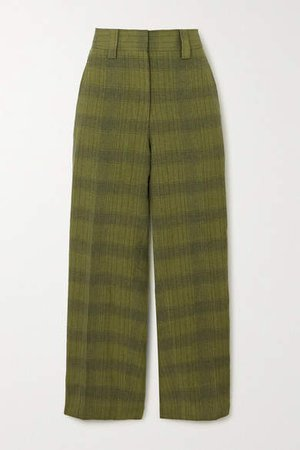 Str02 Checked Linen-blend Straight-leg Pants - Green