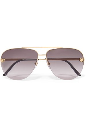 Gray Panthère aviator-style gold-plated sunglasses | Cartier Eyewear | NET-A-PORTER