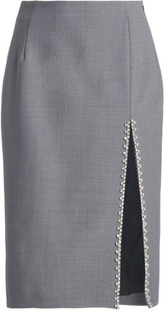 Area Crystal-Trimmed Pencil Skirt