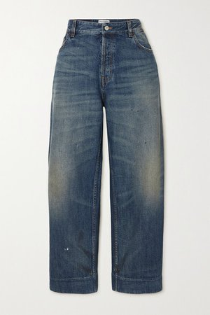 Cropped High-rise Jeans - Blue