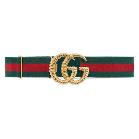 Web elastic belt with torchon Double G buckle in Green and red Web elastic | Gucci Women's Belts