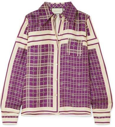 Printed Silk-satin Twill Shirt - Purple