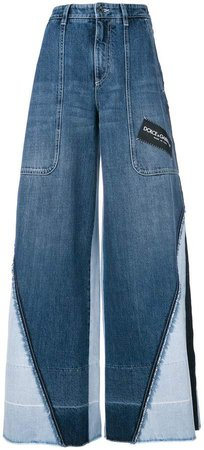 panelled wide leg jeans
