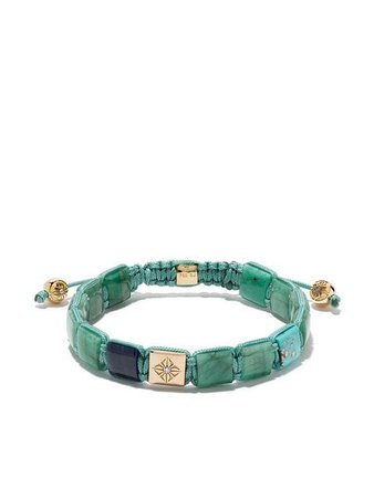 Shamballa Jewels 18kt Yellow gold, Diamond And Turquoise Lock Beaded Bracelet - Farfetch