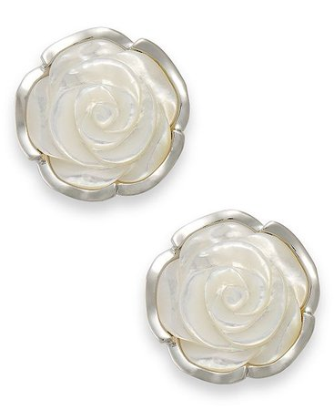 Macy's Sterling Silver Earrings, Mother of Pearl Flower Earrings