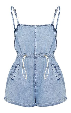 Acid Blue Wash Toggle Waist Square Neck Playsuit | PrettyLittleThing USA