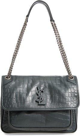Medium Niki Croc Embossed Leather Shoulder Bag