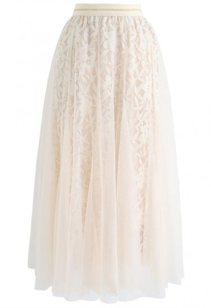 Enter Floral World Tulle Mesh Midi Skirt in Cream - Skirt - BOTTOMS - Retro, Indie and Unique Fashion