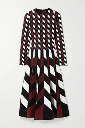 Black Pleated jacquard-knit midi dress | Oscar de la Renta | NET-A-PORTER
