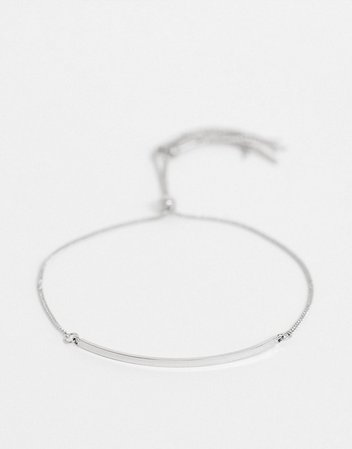 ASOS DESIGN bracelet with toggle chain and metal bar in silver tone | ASOS