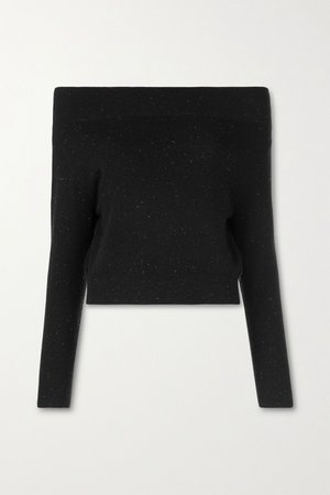 Black Tomoko off-the-shoulder cashmere sweater