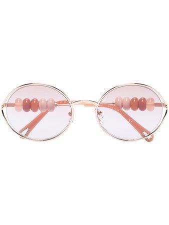 Chloé Eyewear Beaded oval-frame Sunglasses - Farfetch