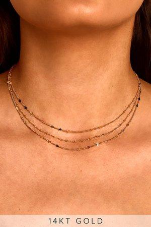 14k Gold Choker Necklace - Layered Choker - Layered Chain Choker
