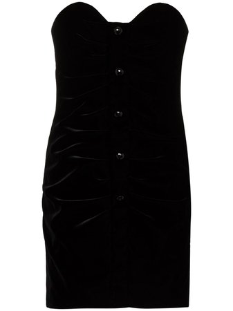 Saint Laurent Strapless Velvet Mini Dress - Farfetch