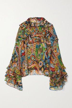 Green Ruffled paisley-print silk-crepon blouse | Etro | NET-A-PORTER