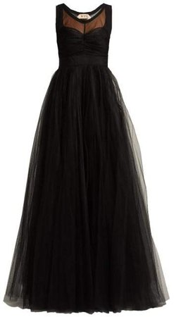 No. 21 - Tulle And Crepe De Chine Gown - Womens - Black