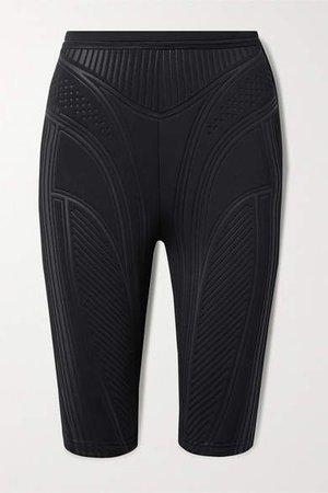 Textured-scuba Shorts - Black