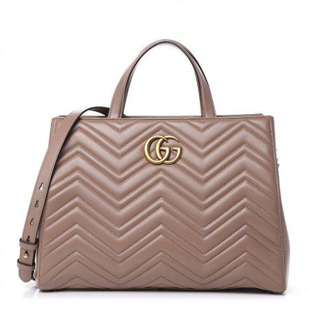 GUCCI Calfskin Matelasse Medium GG Marmont Top Handle Bag Dusty Pink 499501