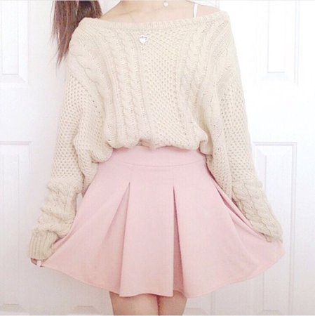 Cream sweater with a light pink skirt (With images) | Kawaii fashion, Girly outfits, Pastel fashion