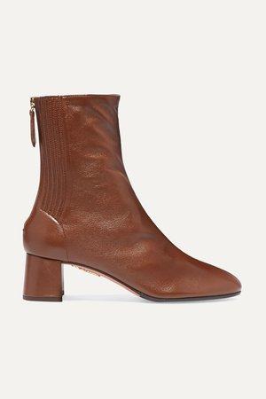 Tan Saint Honoré 50 leather ankle boots | Aquazzura | NET-A-PORTER