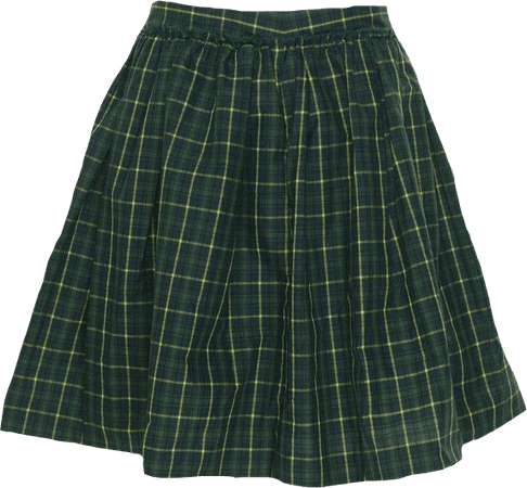 green plaid skirt