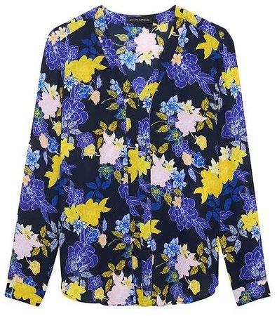 Floral Long-Sleeve V-Neck Top