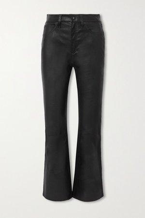 Hana Cropped Straight-leg Leather Pants - Black