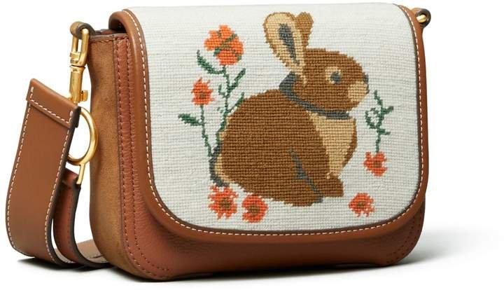 Perry Needlepoint Bunny Flap Crossbody