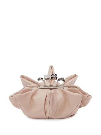 Alexander McQueen Four-Ring suede clutch pink 6564701YBAA - Farfetch