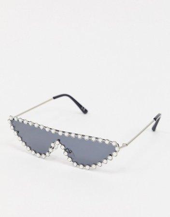 ASOS DESIGN embellished visor sunglasses   ASOS