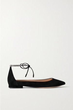 Crystal-embellished Suede Point-toe Flats - Black