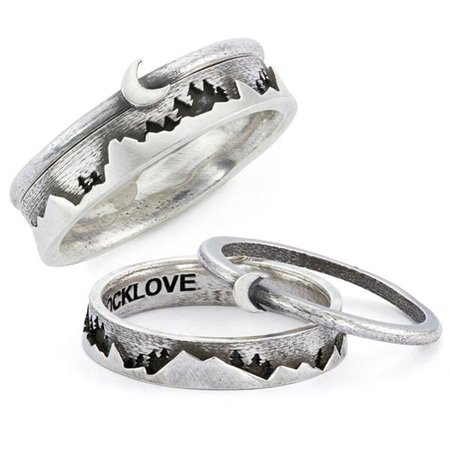 Moon & Mountain Stackable Ring Set – RockLove Jewelry