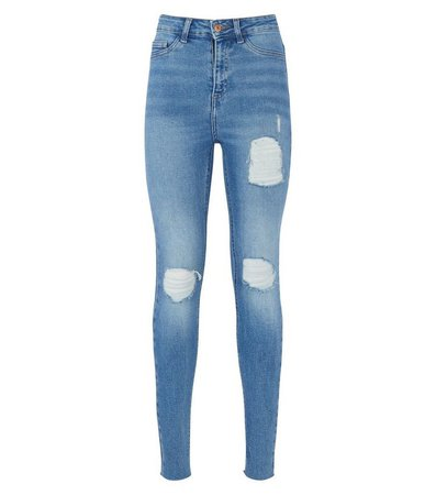 Blue High Waist Super Skinny Ripped Hallie Jeans   New Look